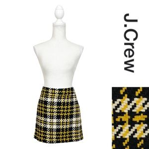 J.Crew Houndstooth Plaid Wool Mini Skirt Yellow Black and White Size 4